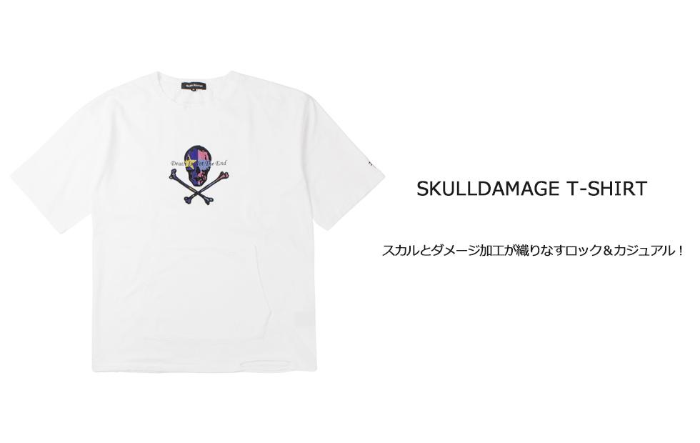 HarlemRounge(ハーレムラウンジ)どくろダメージTシャツのイメージ画像1