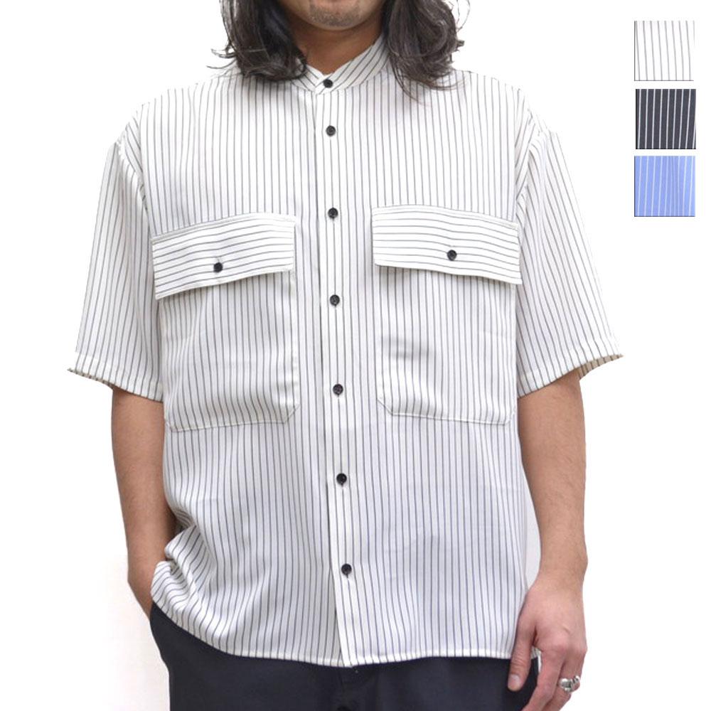画像1: ストライプバンドカラーシャツ 全3カラー メンズ (1)