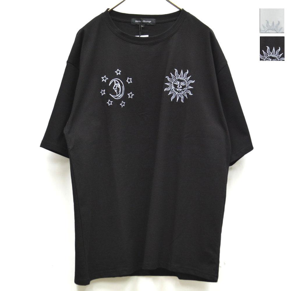 画像1: SUN&MOON刺繍Tシャツ 全2カラー ユニセックス (1)