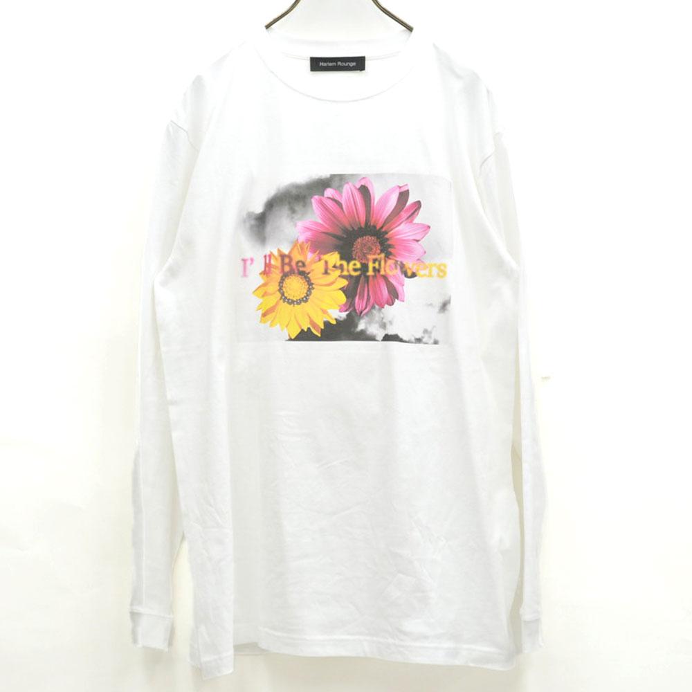 画像1: FLOWER  PRINTED  LS-TEE WHITE ユニセックス (1)